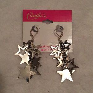 Dangly silver star earrings
